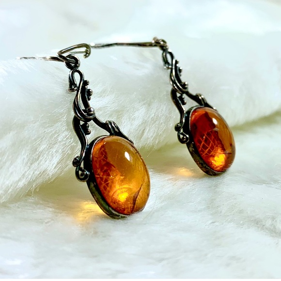 Amber hand made sterling silver earrings